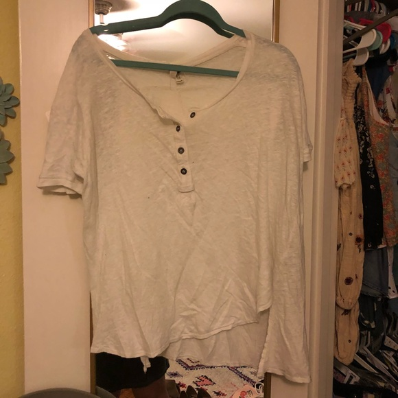 Free People Tops - Free People White Button Tee